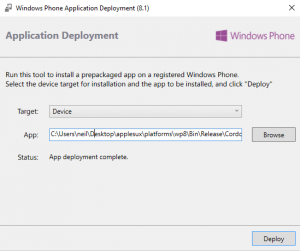 Windows Phone deployment